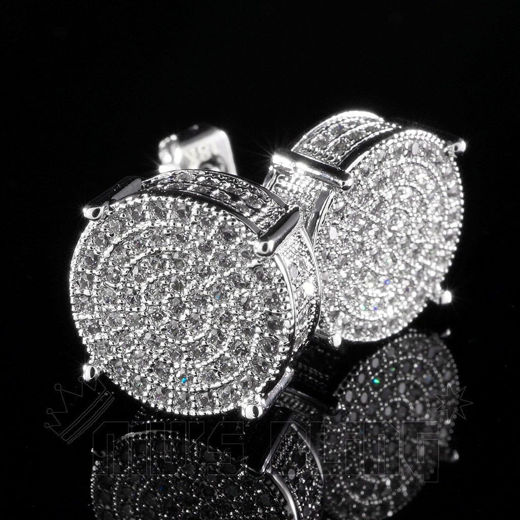 18K White Gold Iced Out Round Stud Earrings