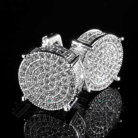 Affordable 18K White Gold Iced Out Round Stud Hip Hop Earrings - Side View