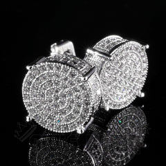18K White Gold Iced Round Stud Earrings