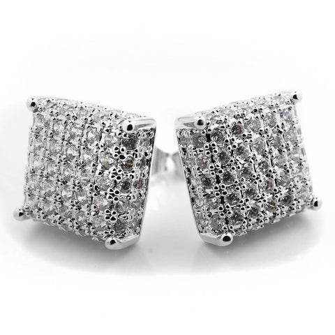 Affordable 18k White Gold Iced Out Square Stud Hip Hop Earrings - White Background