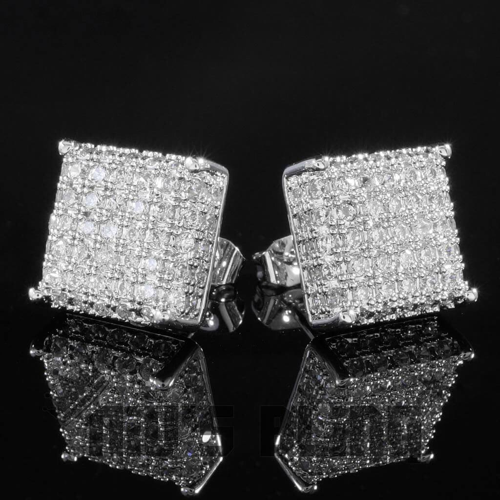 Affordable 18k White Gold Iced Out Square Stud Hip Hop Earrings - Front View