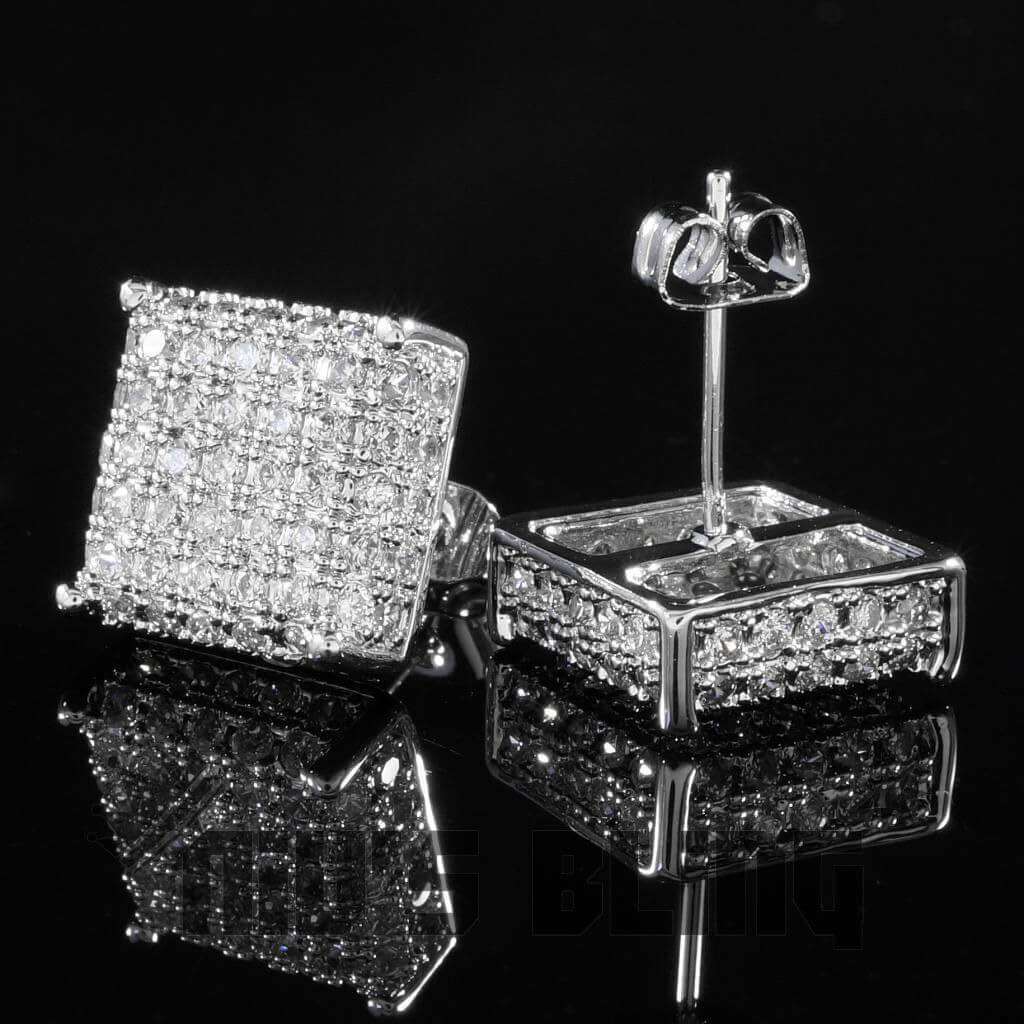 Affordable 18k White Gold Iced Out Square Stud Hip Hop Earrings - Side and Back View
