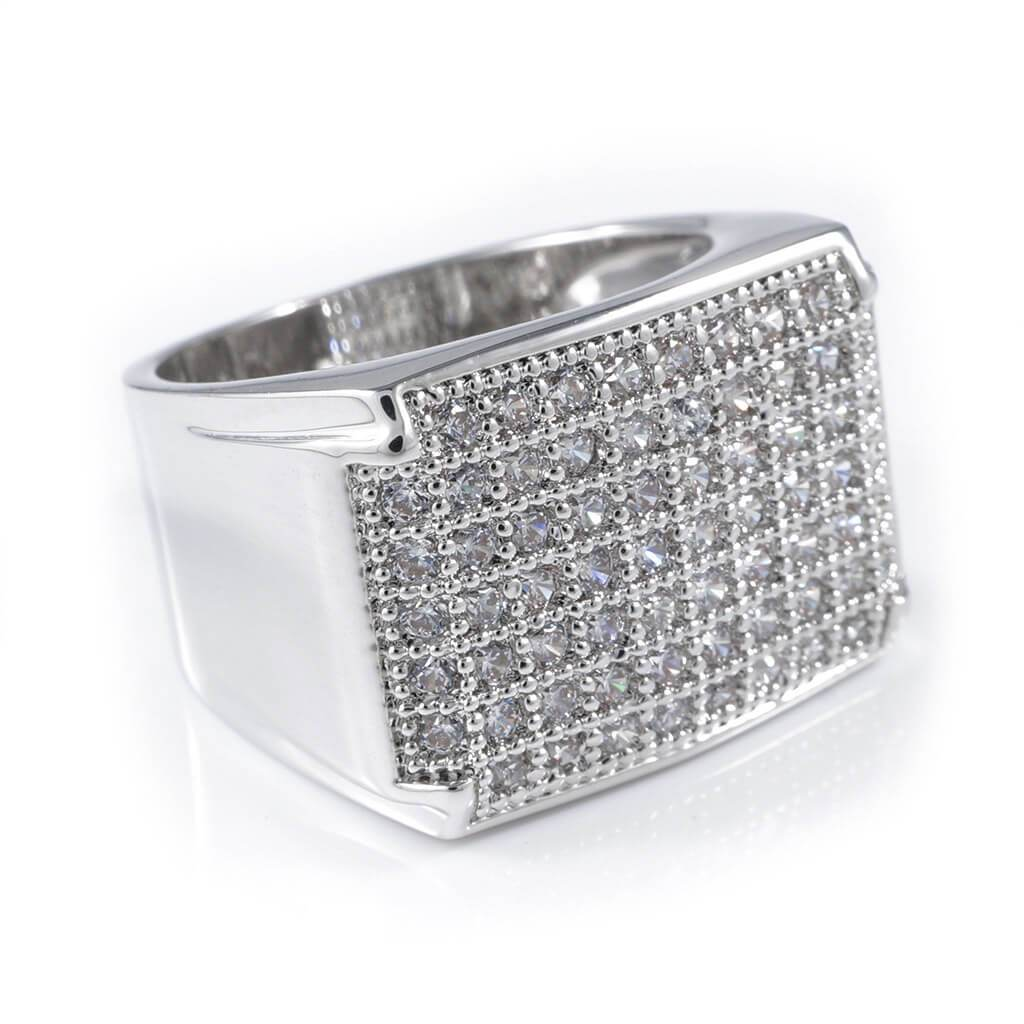 Affordable 18K White Gold Iced Out Wedding Pinky Ring - White Background