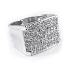 18K White Gold Iced Out Wedding Pinky Ring