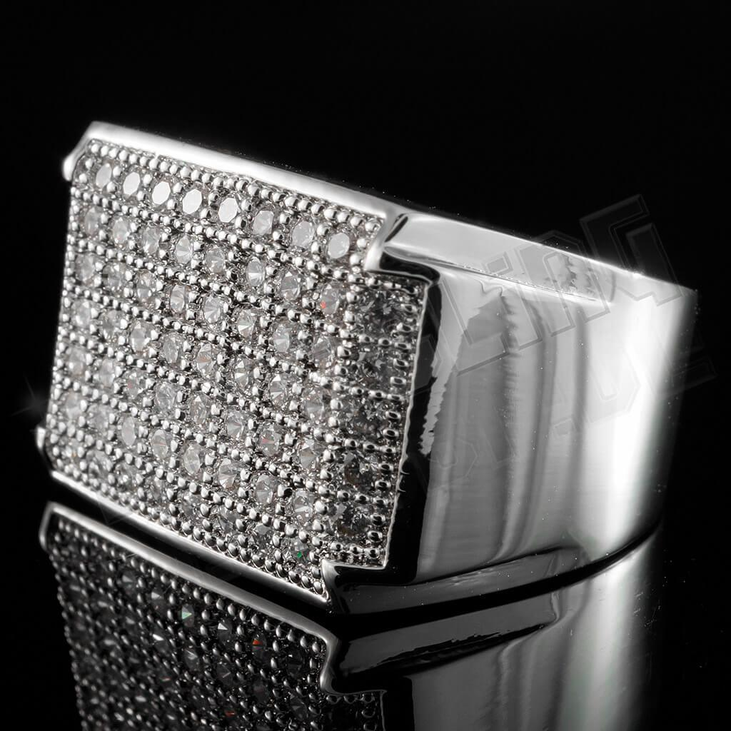 Affordable 18K White Gold Iced Out Wedding Pinky Ring - Side View