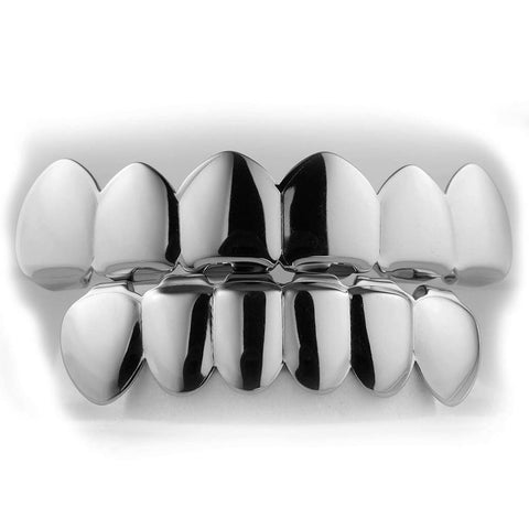 Affordable 18K White Gold Plated 6 tooth Hip Hop Grillz - White Background