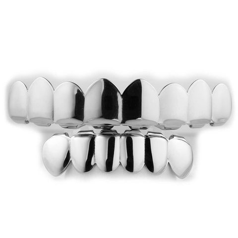 Affordable 18K White Gold Plated 8 Tooth Hip Hop Grillz - White Background
