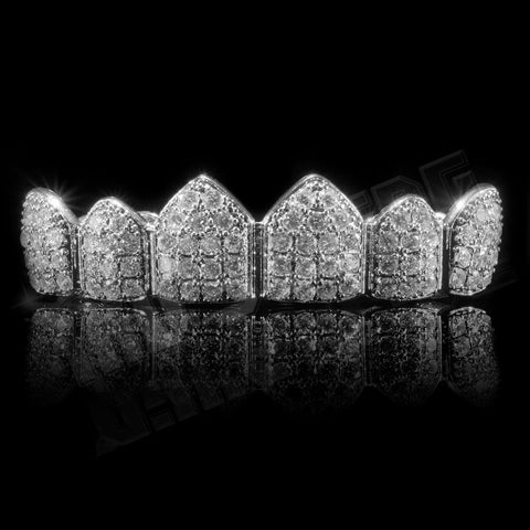 Affordable 18K White Gold Plated CZ Cluster Top Bottom Hip Hop Grillz - Top Grill