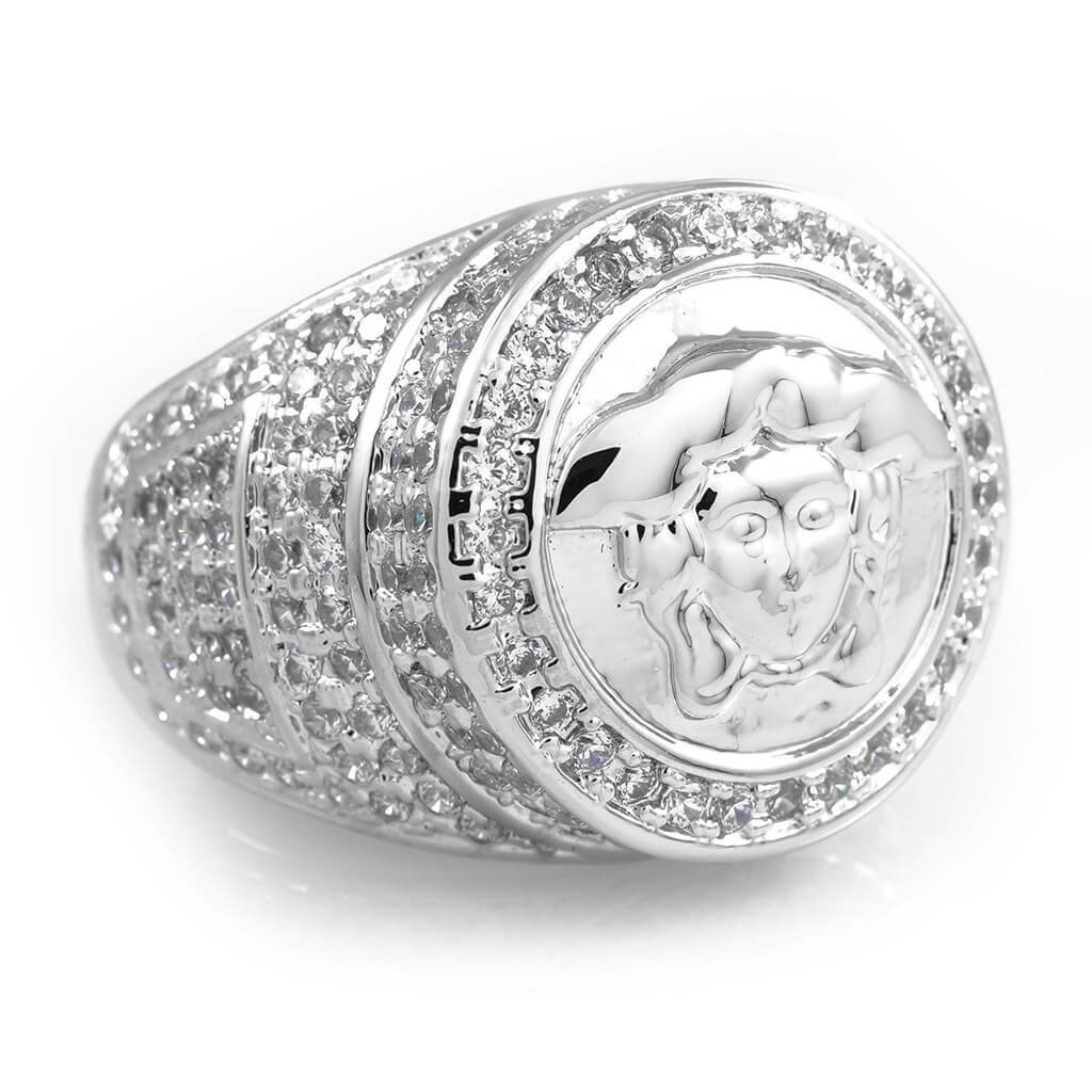 18K White Gold Plated Iced Medusa Ring
