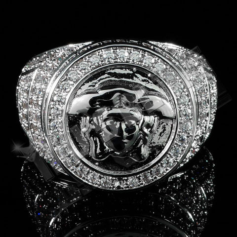 18K White Gold Plated Iced Out Medusa Ring