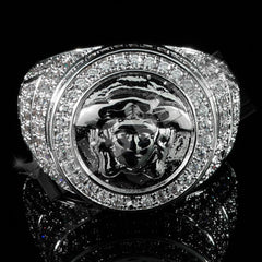 Affordable 18K White Gold Plated Iced Out Medusa Hip Hop Ring - Front View