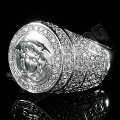 Affordable 18K White Gold Plated Iced Out Medusa Hip Hop Ring - Left Side View