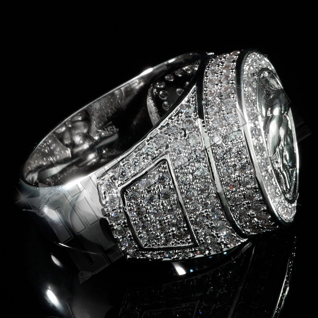 Affordable 18K White Gold Plated Iced Out Medusa Hip Hop Ring - Right Side View