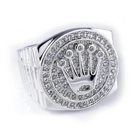 Affordable 18K White Gold Plated Iced Out Presidential Hip Hop Ring - White Background