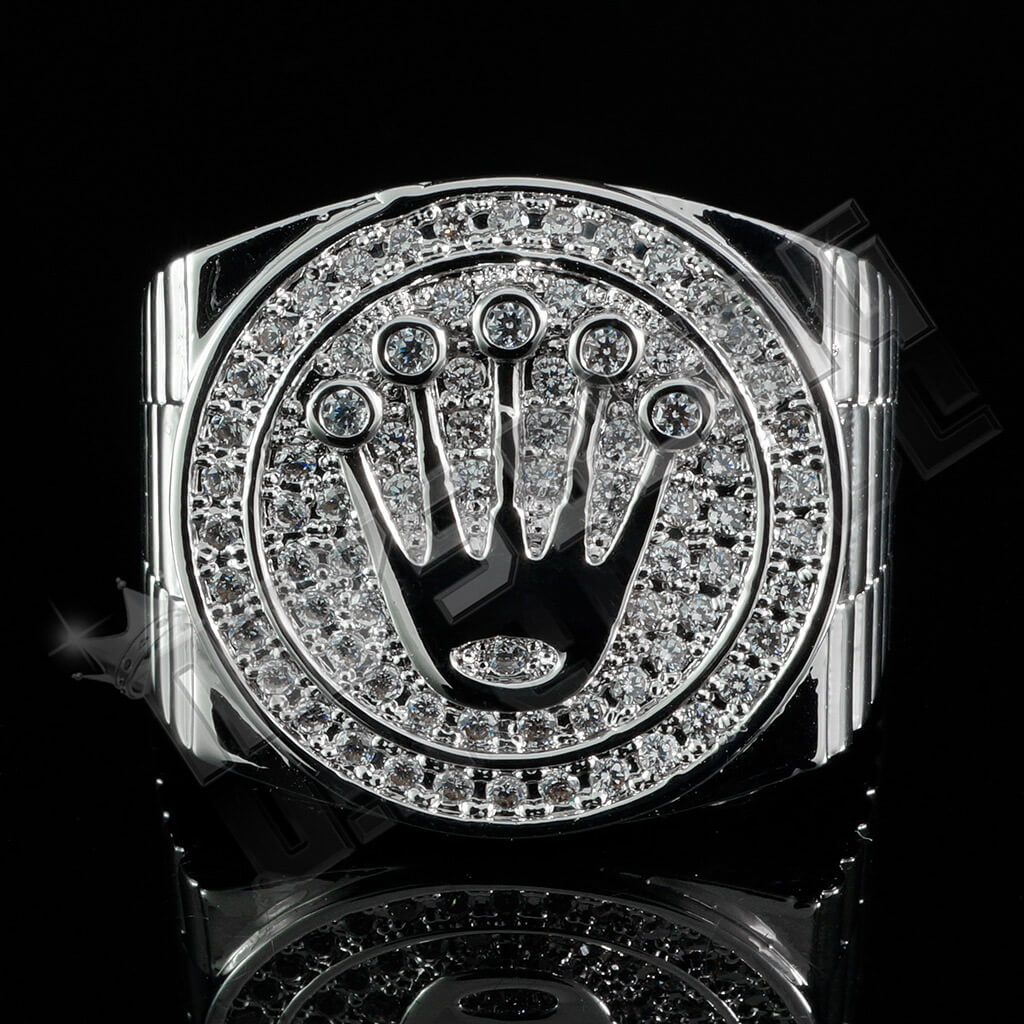 18K White Gold Plated Iced Presidential Ring