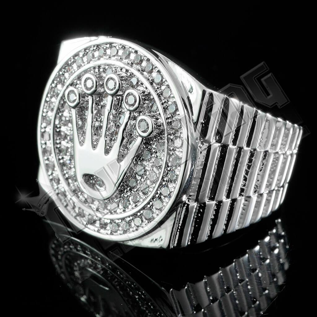 18K White Gold Plated Iced Out Presidential Ring