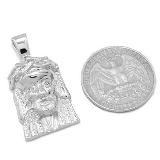 18K White Gold Plated Jesus Piece 6 With Box Chain