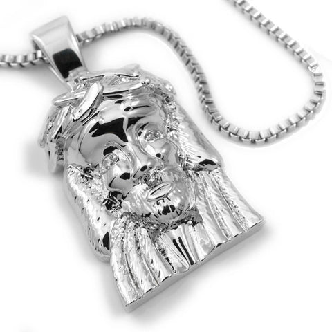 Affordable 18K White Gold Plated Jesus Piece 6 With Hip Hop Chain - White Background