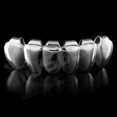 Affordable 18K White Gold Plated 8 Tooth Hip Hop Grillz - Bottom Grill