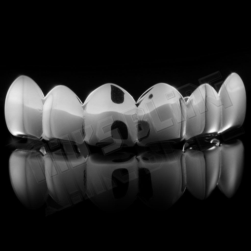 Affordable 18K White Gold Plated 6 tooth Hip Hop Grillz - Top Grill