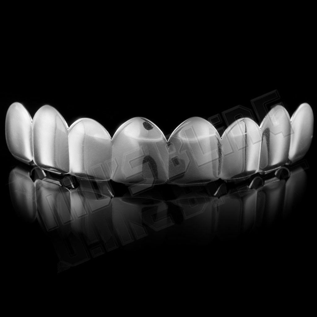 Affordable 18K White Gold Plated 8 Tooth Hip Hop Grillz - Top Grill