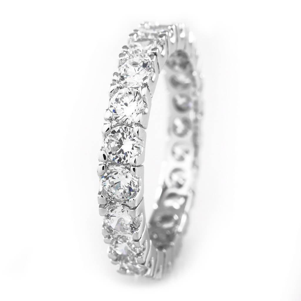 Affordable 18K White Gold Promise Eternity Ring - White Background