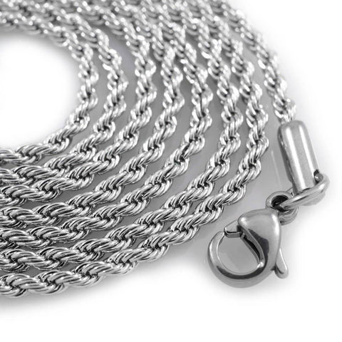 Affordable 18K White Gold Rope Hip Hop Chain - White Background