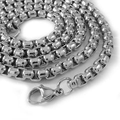 Affordable 18K White Gold Round Box Hip Hop Chain - White Background