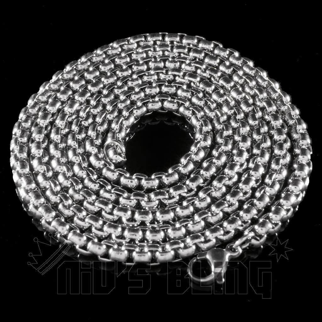 Affordable 18K White Gold Round Box Hip Hop Chain - 6mm Whole View