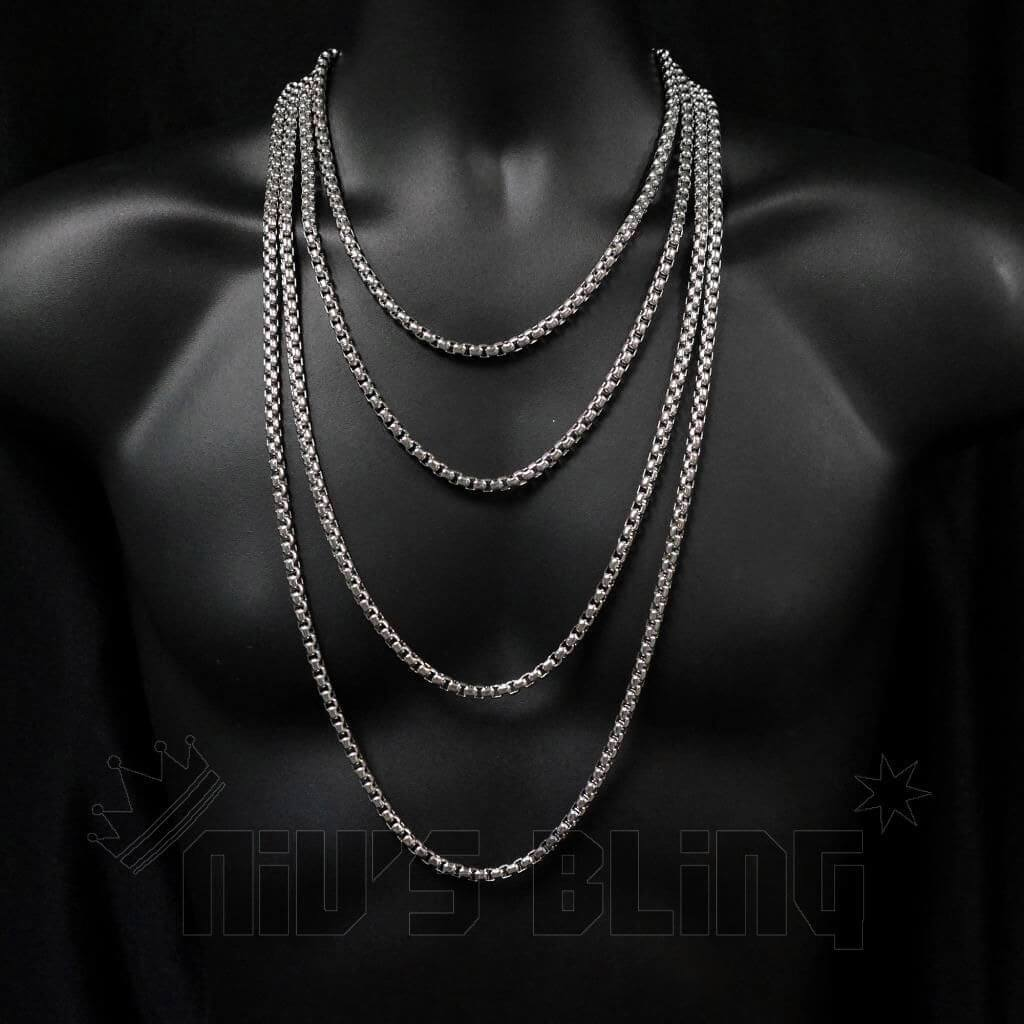 18K White Gold Round Box Chain