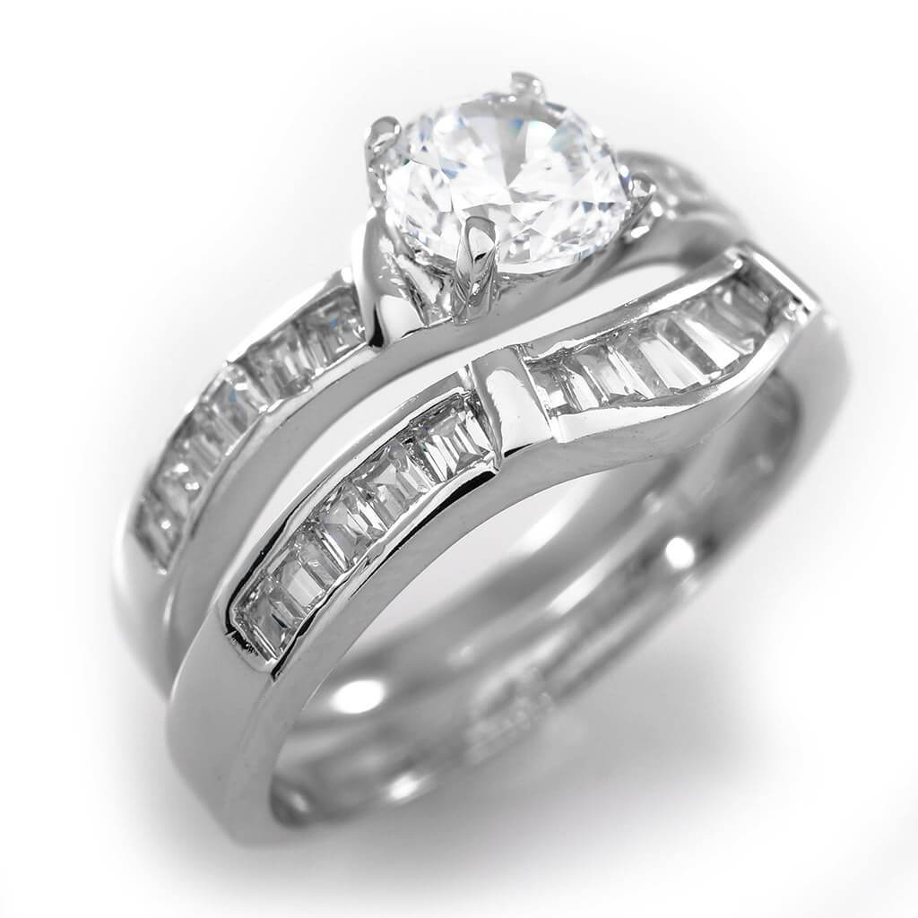 Affordable 18K White Gold Wedding Engagement Ring Set - White Background