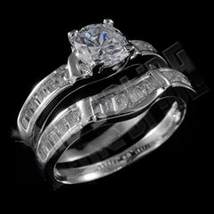 Affordable 18K White Gold Wedding Engagement Ring Set - Black Background