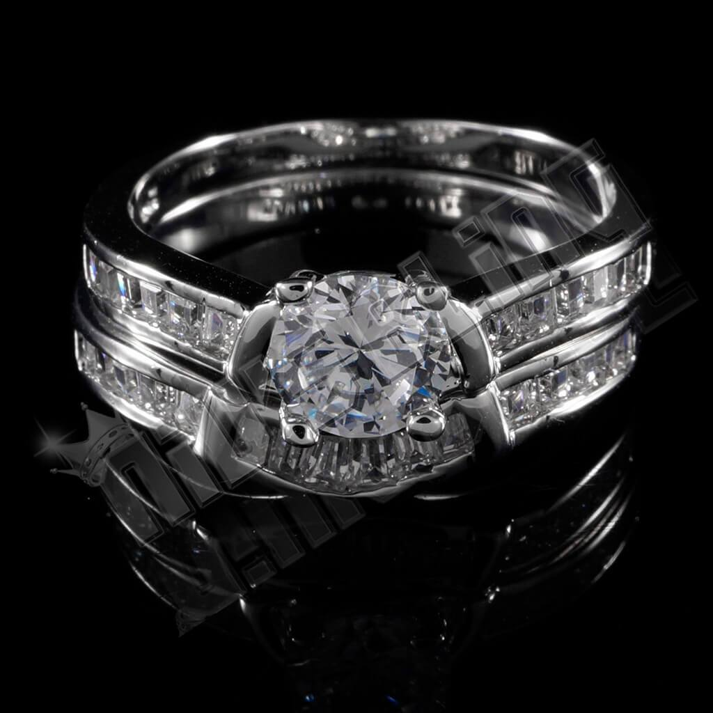 Affordable 18K White Gold Wedding Engagement Ring Set - Front View