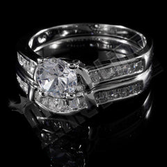 Affordable 18K White Gold Wedding Engagement Ring Set - Side View