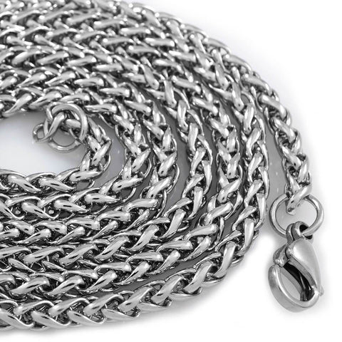 Affordable 18K White Gold Wheat Hip Hop Chain - White Background