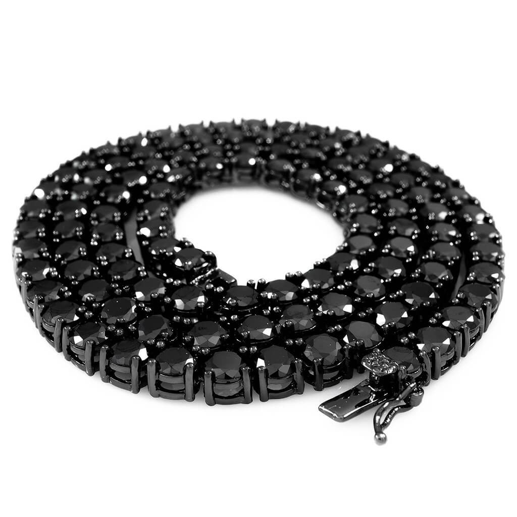 18k Black Gold 1 Row 5MM Iced Chain