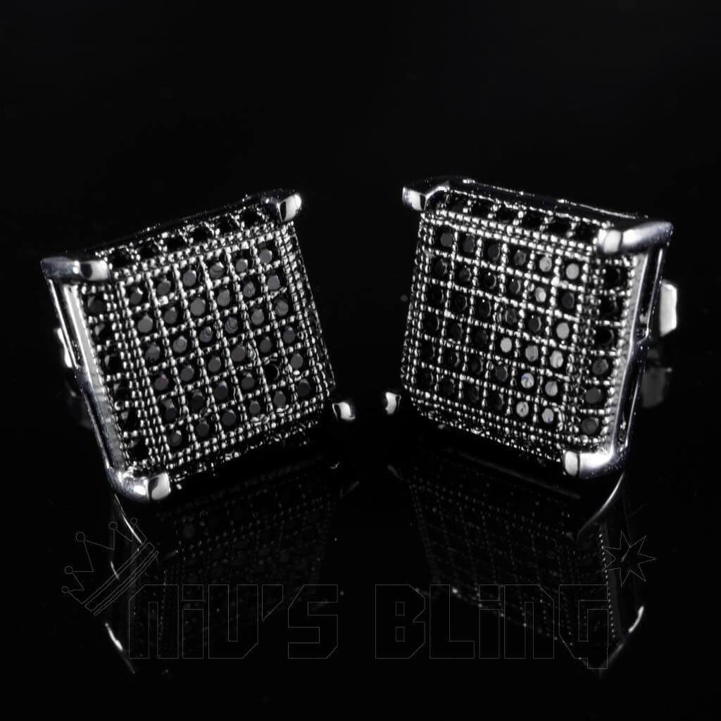 18k Black Gold Framed Square Stud Earrings