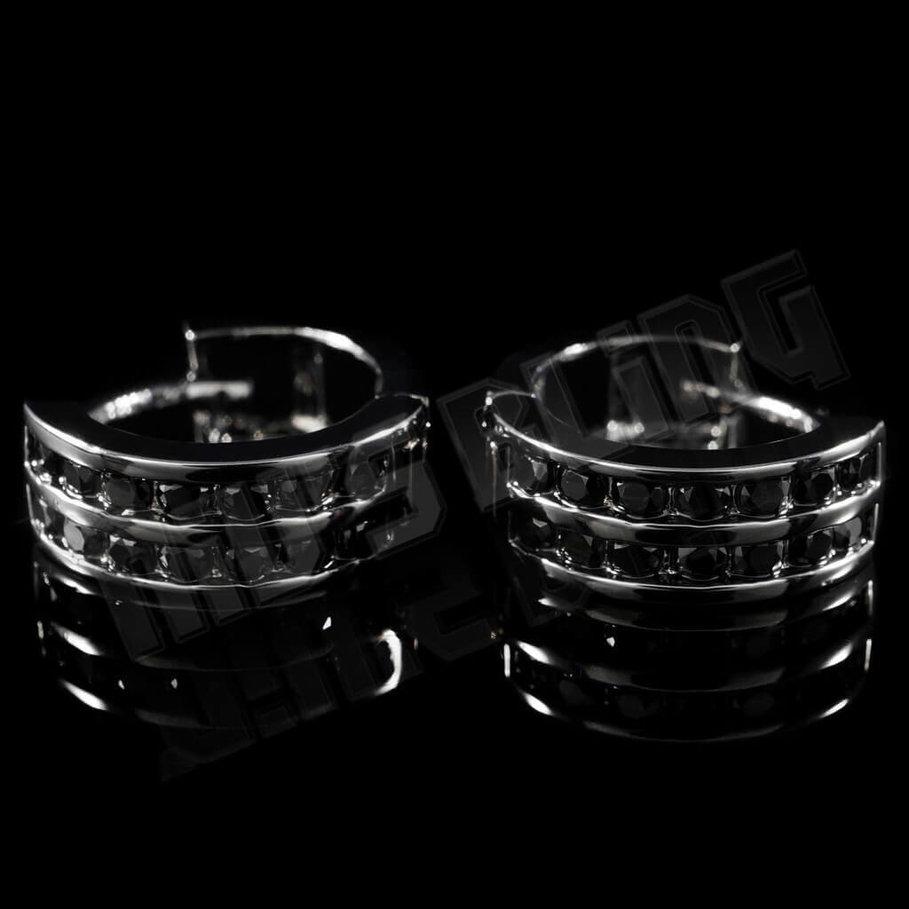 18k Black Gold Huggie Hoop Leverback Earrings