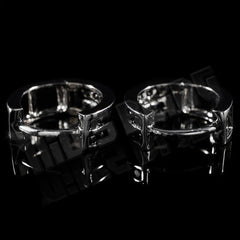Affordable 18k Black Gold  Huggie Hoop Leverback Hip Hop Earring - Clasp view