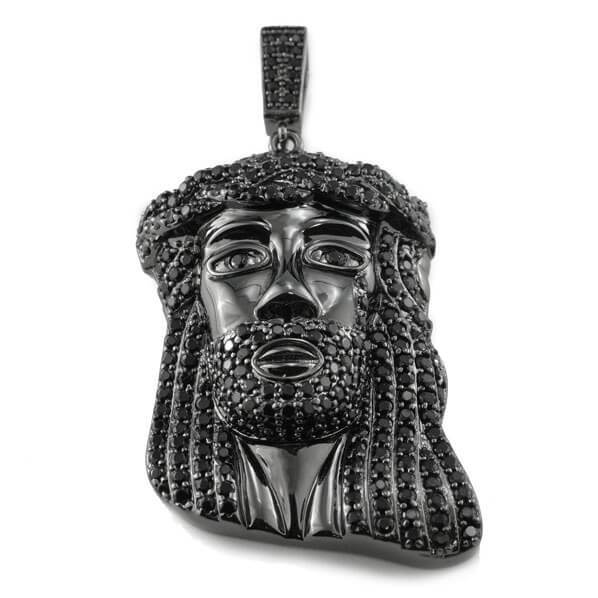 Affordable 18k Black Gold Iced Mini Jesus Piece 8 With Rope Hip Hop Chain - Front View