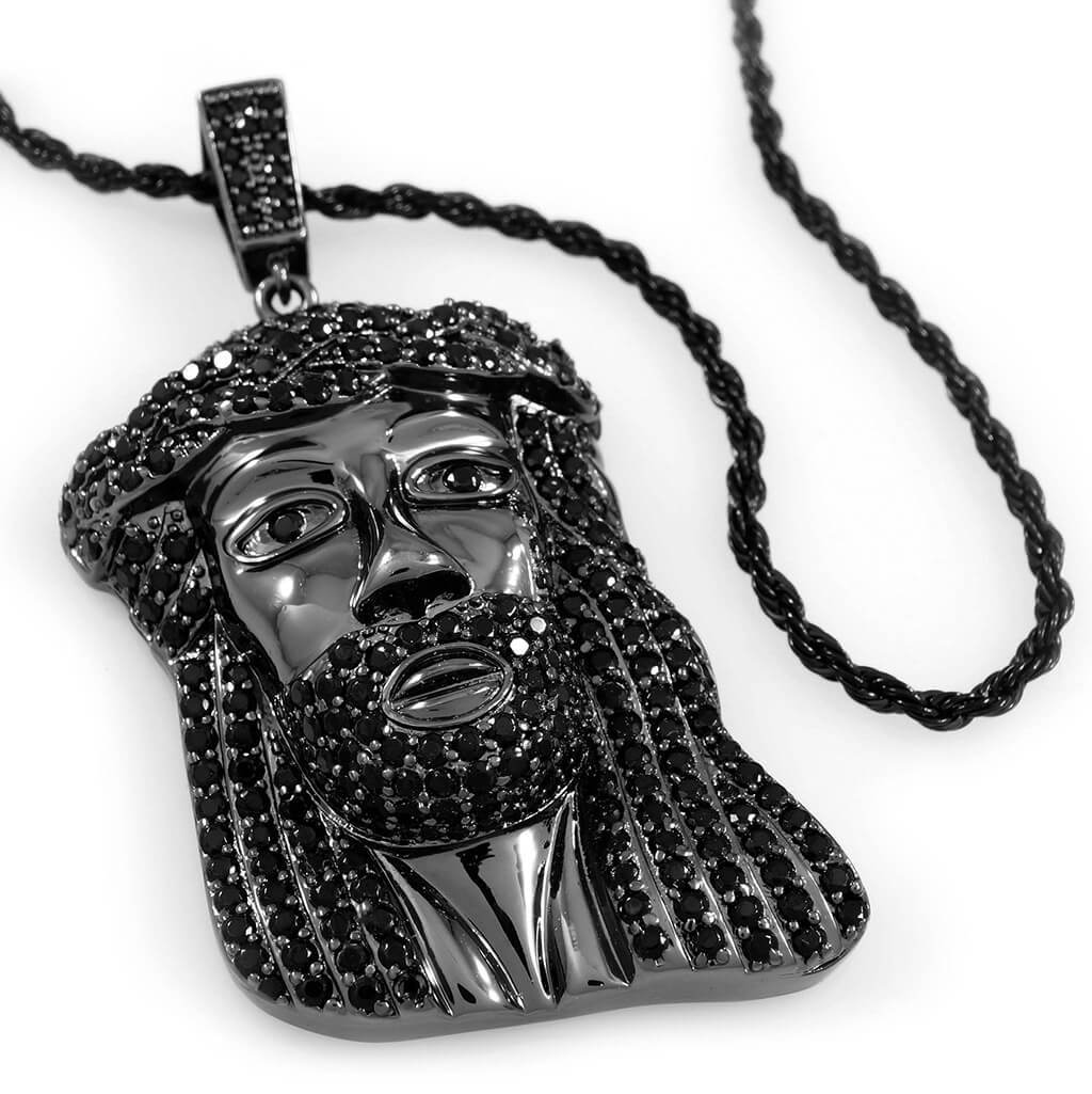 Affordable 18k Black Gold Iced Mini Jesus Piece 8 With Rope Hip Hop Chain - White Background