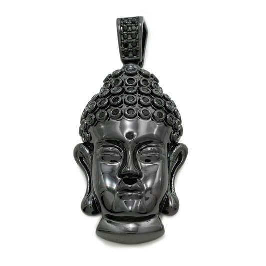 Affordable 18k Black Gold Iced Out Buddha Pendant - Front View