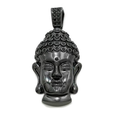 18k Black Gold Iced Buddha Pendant With Box Chain
