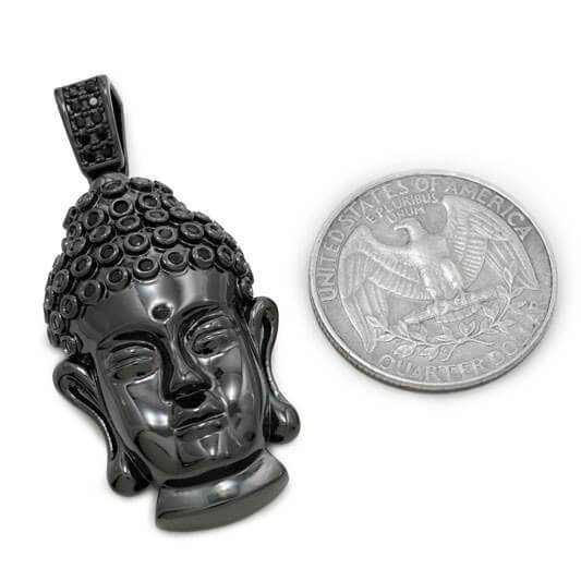 Affordable 18k Black Gold Iced Out Buddha Pendant - Coin Comparison