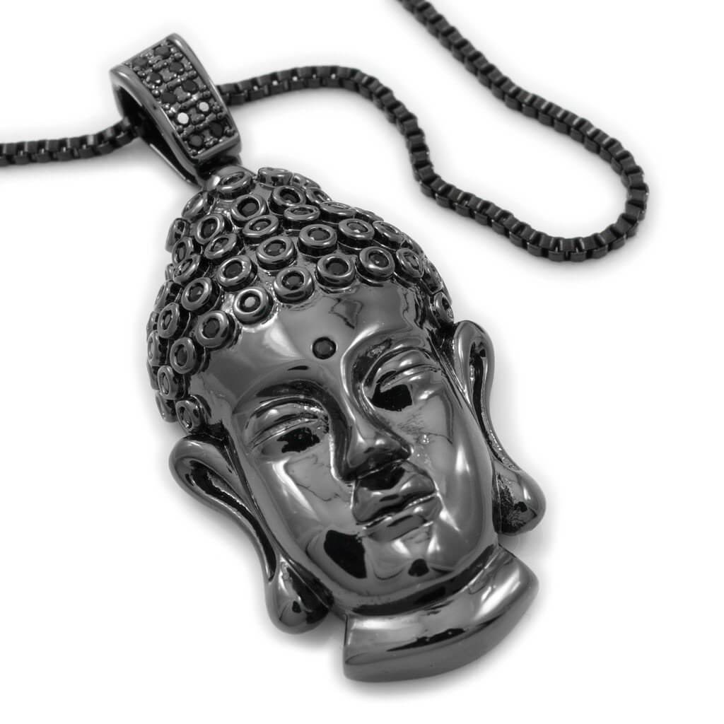 Affordable 18k Black Gold Iced Out Buddha Pendant - White Background