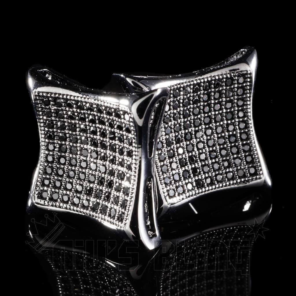 18k Black Gold Iced Curved Square Stud Earrings
