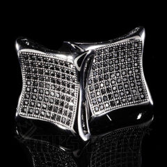 18k Black Gold Iced Out Curved Square Stud Earrings