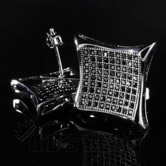 Affordable 18K Black Gold Iced Out Curved Square Stud Hip Hop Earrings - Front and clasp view