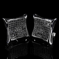 Affordable 18K Black Gold Iced Out Curved Square Stud Hip Hop Earrings - Side View