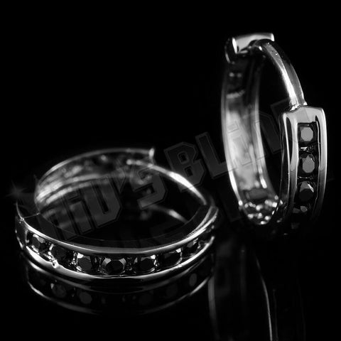18k Black Gold Iced Out Huggie Hoop Earrings